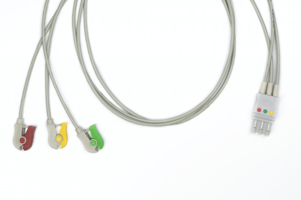 EKG-Kabel für Philips, 3fach-Ableitung mit Klemme